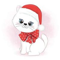 Cute cat and santa hat, winter and Christmas illustration. vector
