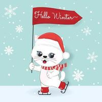 Cute cat and hello winter text, Winter and Christmas illustration. vector