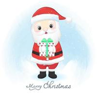 Cute santa claus and gift box in winter, Christmas illustration. vector