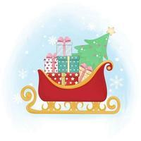 Sleigh and pine christmas with gift vector