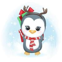 Cute penguin and gift box in winter, Christmas illustration. vector