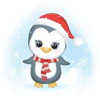 Cute penguin and snowflake in winter, Christmas illustration. vector