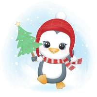 Cute penguin and pine christmas, Christmas watercolor illustration. vector