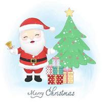 Cute santa claus in winter, Merry Christmas illustration. vector