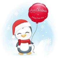 Cute penguin and red balloon in winter, Christmas illustration. vector