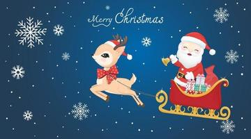 Cute Santa claus and deer with Sleigh on the sky vector