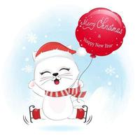 Cute cat and red balloon in winter, Christmas illustration. vector