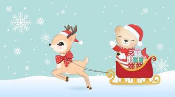 Cute Santa Bear and deer with Sleigh , Christmas concept vector
