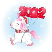 Cute little unicorn and red balloon 2022 Christmas illustration. vector