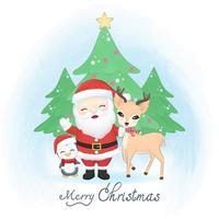 Cute santa claus, penguin and deer in winter, Merry Christmas vector