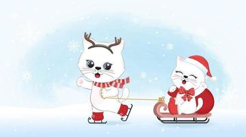 Cute little cats and sleigh, winter and Christmas illustration. vector