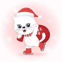 Cute cat and red balloon in winter, Christmas season illustration. vector