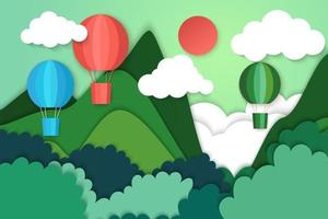 Summer travel and adventure concept with hot air balloons on mountains vector