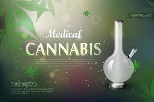ilustración vectorial realista que muestra un bong de vidrio y una hoja de marihuana vector