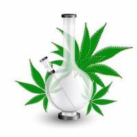 Bong de fumar cannabis y hojas de marihuana aisladas sobre fondo blanco. vector