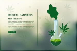 bong y hoja de cannabis medicinal. realista mostrando bong de vidrio vector