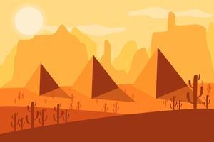 Pirámides egipcias. Desierto. ilustración vectorial. vector
