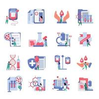 Blood Donation Icons Set vector