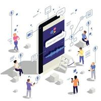Voice Assistant Isometric Composition vector