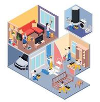 Rooms Renovation Isometric Composition vector