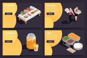 Catering Cafe Isometric View vector