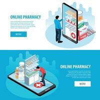 Isometric Pharmacy Horizontal Banners vector