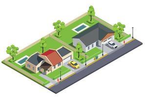 Town Block Buildings Composition vector