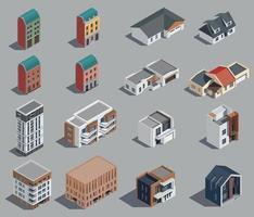 Suburban Buildings Icon Set vector