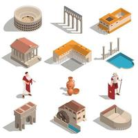 Ancient Rome Isometric Set vector