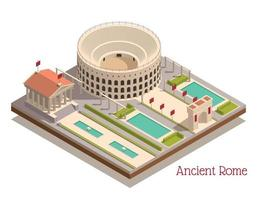 Ancient Rome Landmarks Isometric Composition vector