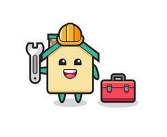 Mascot cartoon of house as a mechanic vector