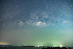 Night landscape with colorful Milky Way photo