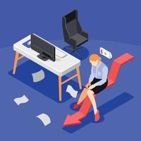 Burn-out Syndrome Isometric Background vector