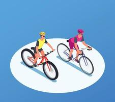 People On Bicycles Isometric Background vector
