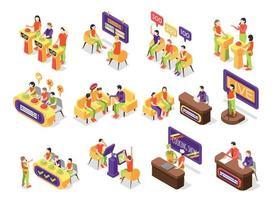 Quiz TV Show Icons Set vector