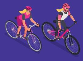 Cyclists Couple Isometric Composition vector