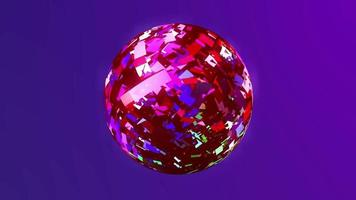 A shiny pink sphere on a purple background. video