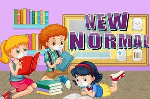 New Normal with children wearing mask in library vector