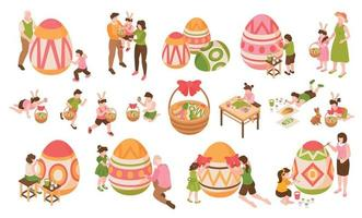Easter Isometric Color Icons Set vector