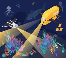 Isometric Underwater Vehicles Machines Equipment Composition vector