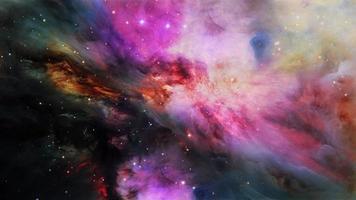 voo espacial através da nebulosa de orion. 4k 3d video