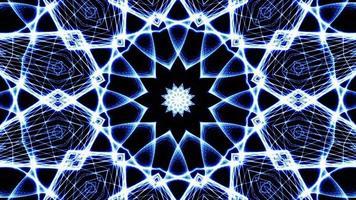 loop de mandala de malha azul complexo hiper caleidoscópico girando video