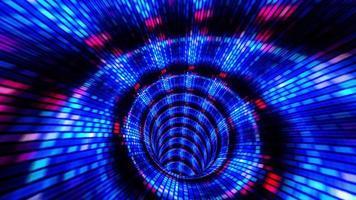 movimento delle linee di volo ed effetto digitale della luce illuminata nel tunnel. video