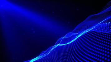 mesh glowing blue dots digital luxurious sparkling wave particles flows video