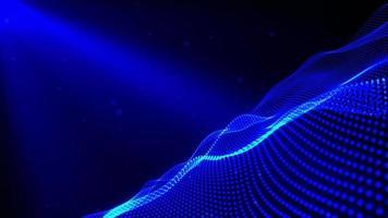 nät glödande blå prickar digitala lyxiga mousserande vågpartiklar flödar video