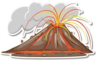 Sticker design with Volcano eruption with lava isolated vector