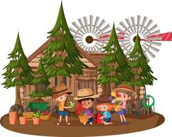 Wooden house with many children on white background vector