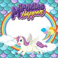 Empty banner with cute pegasus cartoon character on pastel mermaid scales vector