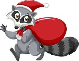Cute Raccoon wearing Christmas hat cartoon character vector