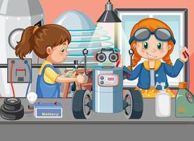 Scene with children repairing robot together vector